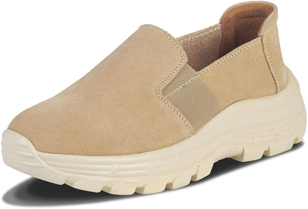 Ruiatoo Platform Shoes for Women Suede Slip On Walking Shoes for