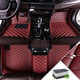 A Medida Ajustan para Hyundai H-1 2011-2017(Two Seats in The First Row) Alfombrillas de para Coche Alfombrillas de Coche Antideslizantes Moqueta Vino Rojo