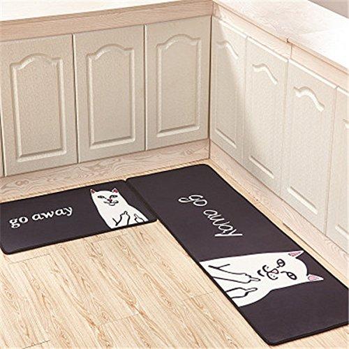 GRENSS 2 PC-Cartoon Flanell Home Teppiche Water-Absorbing Matten Ölbeständigkeit Wolldecken für Küche Bad Matten waschbare Teppiche Bettseite Matten, 18,50 x 80 VS 50 x 160