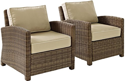 Crosley Furniture KO70026WB-SA Bradenton Outdoor Wicker Arm Chairs (Set of 2), Brown with Sand Cushions
