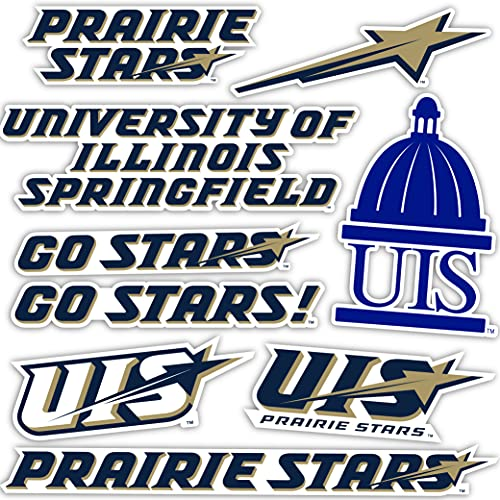 University of Illinois Springfield UIS Prairie Stars Sticker Vinyl Decal Laptop Water Bottle Car Scrapbook (Type 2 Sheet)