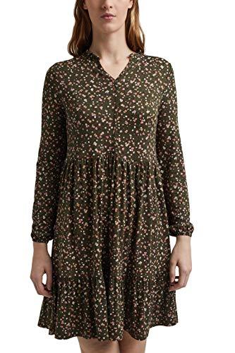edc by ESPRIT Damen 021CC1E306 Kleid, 351/KHAKI Green 2, L