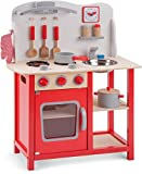 New Classic Toys - 11055 - Kinderrollenspiele - Hölzern Kinderküche Bon Appétit - Rot - Einschließlich Zubehör