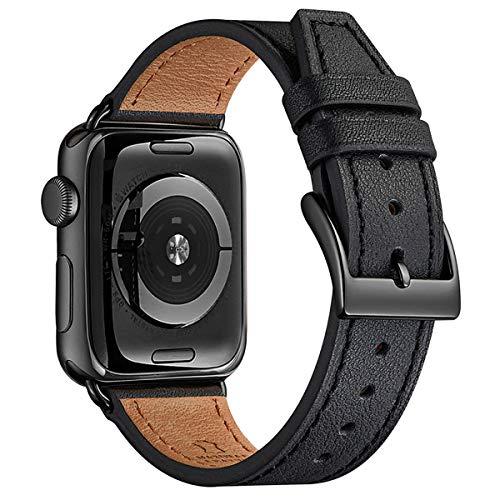 FENGLIN Echtleder-Armband, kompatibel mit Apple Watch, 38 mm, 40 mm, 42 mm, 44 mm, klassisch, verstellbar, Ersatz-Armband für alle Versionen der iWatch Serie 5/4/3/2/1