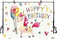 新しい7x5ftの女の子のためのかわいいお誕生日おめでとうの背景誕生日パーティーバナーベビーシャワーの背景ケーキテーブルの装飾写真スタジオの小道具413