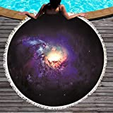 Ta-weo Galaxy Round Beach Towel Printed with Tassel Yoga Blanket Starry Microfiber Picnic Mat 150cm (Color : 3, Size : 150CM)