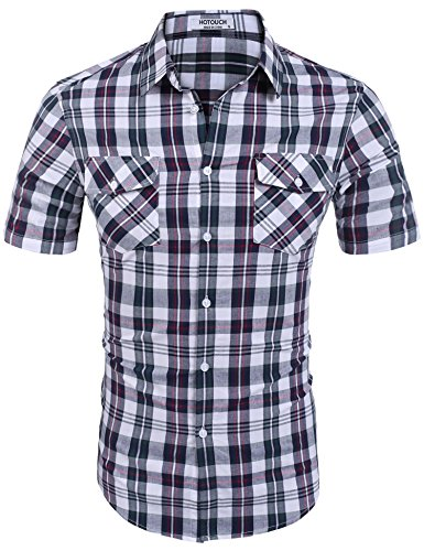 HOTOUCH Men's Explorer Fancy Short Sleeve Plaid Shirt Plaid 5 S