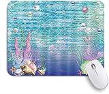 PATINISA Alfombrilla Raton Ordenador,Fondo de Escala de Peces Coral de Concha bajo el océano de Acuario de mar,Alfombrilla Suave Gaming para Ratón Adecuado para ratón de Oficina y para Gaming