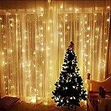 Cortina de luces LED, AGM 3 * 3M 300LEDs luces de Navidad al aire...