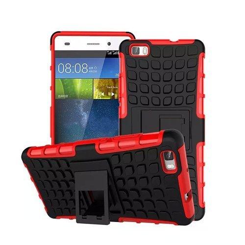 Huawei P8 Lite / Dual-SIM Outdoor Handy Tasche Rot Hybrid Hülle Schutz Hülle Panzer TPU Silikon Hard Cover Bumper | betterfon
