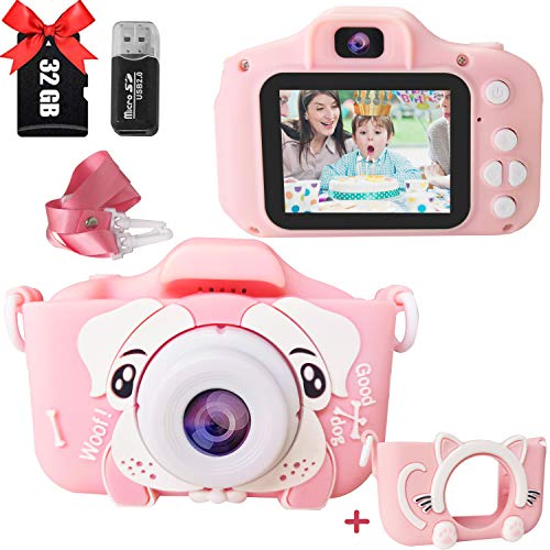TEEMEE Kids Camera for Toddler Girls Boys, Mini Kids Digital Dual Selfie Camera 2.0 Inches 30MP Anti-Drop Cartoon Video Camcorder Camera for Birthday Gift - with 32GB SD Card & Card Reader (Pink)