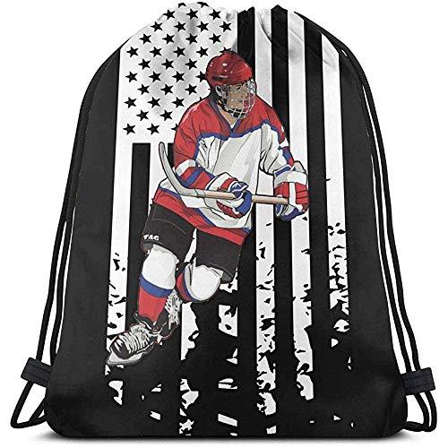 BOUIA Unisex Kordelzug Amerikanische Flagge Hockey Spieler Rucksack Sport Gym Schultasche