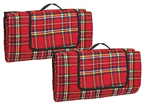 Idena Picknickdecke (170 x 200 cm, Doppelpack | rot - kariert)