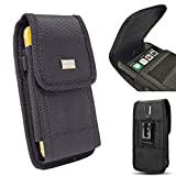 AISCELL Metal Clip Hip Waist Holster for Large Phone,Rugged Black Nylon Pouch Carrying Case ,for Pixel 4 XL , Pixel 3a XL, Pixel 3 XL, Pixel 2 XL, Nexus 6P with Hybrid Protective Armor Skin Cover