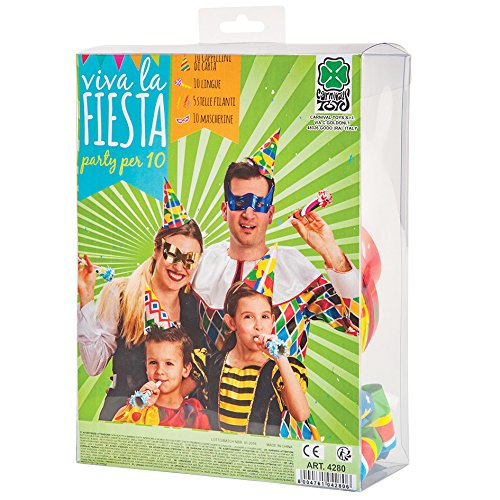 Carnival Toys - Cotillón Carnaval: 10 antifaces, 10 gorros, 5 serpentinas, 10 matasuegras, en caja de pvc,...