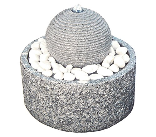 Dehner Gartenbrunnen Bern inkl. LED-Beleuchtung, Ø 42 cm, Höhe 45 cm, Granit, grau/weiß