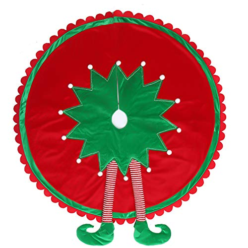 Valery Madelyn 48 inch Delightful Elf Christmas Tree Skirt with Legs and Ripple Trim, Themed with Christmas Ornaments (Not Included)