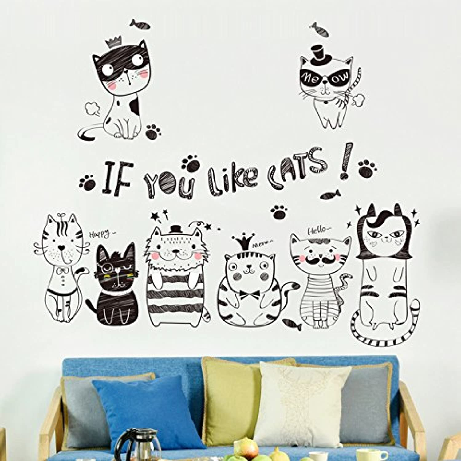 Znzbzt Creative Bedroom Living Room Wall Posters self Adhesive Wall Stickers Wall Decals, Cat
