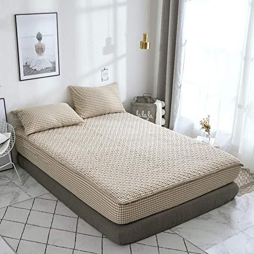 KIrSv Home Sábana Bajera Ajustable,Funda Protectora de colchón de Lujo para niño y niña,100% algodón Lavado y sábana Transpirable de Bolsillo Profundo-F_150x200cm+30cm