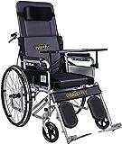 Nuokix Todo mentira silla de ruedas plegable con ir al baño, tubos de acero silla de ruedas autopropulsado for ancianos, discapacitados, y los usuarios con discapacidad, con el freno de mano, extraíbl