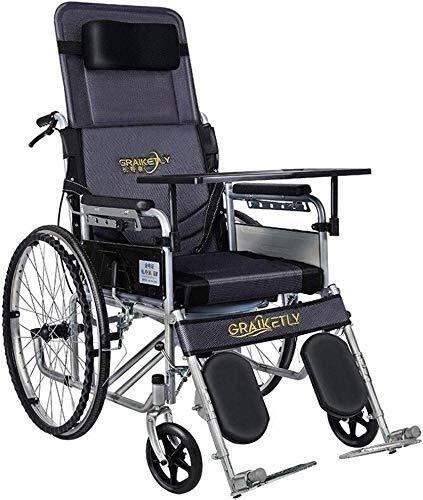 JF-XUAN Todo mentira silla de ruedas plegable con ir al baño, tubos de acero silla de ruedas autopropulsado for ancianos, discapacitados, y los usuarios con discapacidad, con el freno de mano, extraíb