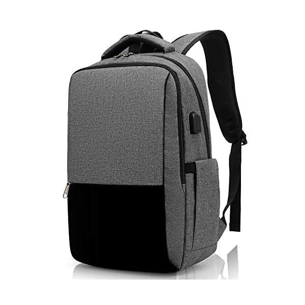 51WVJsXkwOL. SS600  - XQXA Mochila para Portátil, Mochila Unisex Impermeable para Ordenador Portátil de hasta 15.6 Pulgadas,con Bolsillo Antirrobo y Puerto USB para Carga,para los Estudios,Trabajo o Viajes - Gris