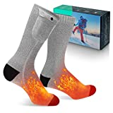 MECO Heated Socks, Winter Socks for Men Women 3.7V 4000mAh Battery Powered, 3 Heating Settings Rechargeable Electric Heated Socks, Winter Warm Socks for Skiing Camping Running Fishing, L