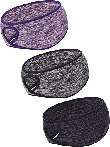 Blulu 3 Pieces Ponytail Headband Women Winter Headband Ear Warmer Running Headband for Women Girls Outdoor Sports, 3 Colors (Color Set 1, Size 1)