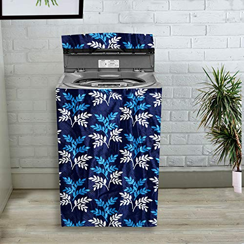 KANUSHI Industries Washable & Dustproof Floral Design Top Load Fully Automatic Washing Machine Cover (Blue) (Suitable for 6 Kg, 6.5 kg, 7 kg, 7.5 kg)(WASMAC-BLUE-SMALL-LEAVES-FULLY-01)