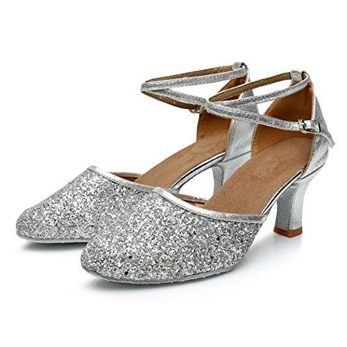 VASHCAMER – Damen Tanzschuhe Hoher Absatz Standard/Latein/Ballsaal 7CM Silber - 2