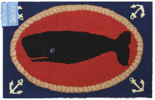 Door Mats Outdoor Rugs Kitchen Rugs Nautical Decor Doormat Hooked Rug Look 2 ft. x 3 ft. Whale