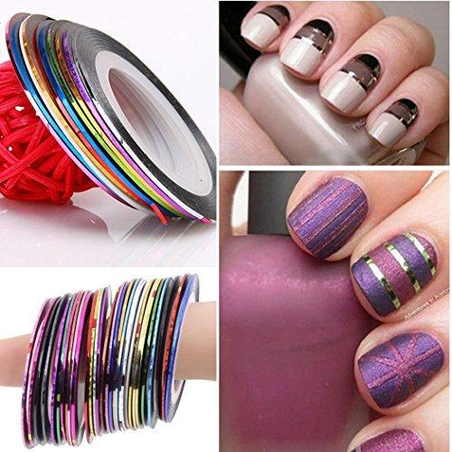 10 Couleurs Art Striping Pointes Ligne Rouleaux de ruban adhésif à ongles DIY Kit de stickers à ongles gel UV