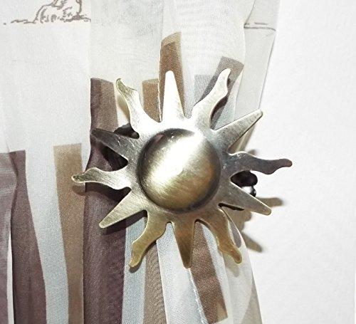 myraumdesign 6 Metall Gardinenklammern Dekorationsklammern Motiv Sonne Stern Messing antik