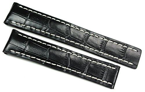 RIOS 1931 20mm heren lederen Duitse horlogeband krokodilvorm zwart voor brede vouwsluiting