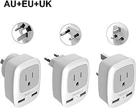International Travel Adapter Kit, TESSAN Worldwide Power Plug 2 USB, Universal European Adapter for USA to Europe Italy UK Ireland, Outlet Adaptor for US to Australia (Type C Type G Type I)