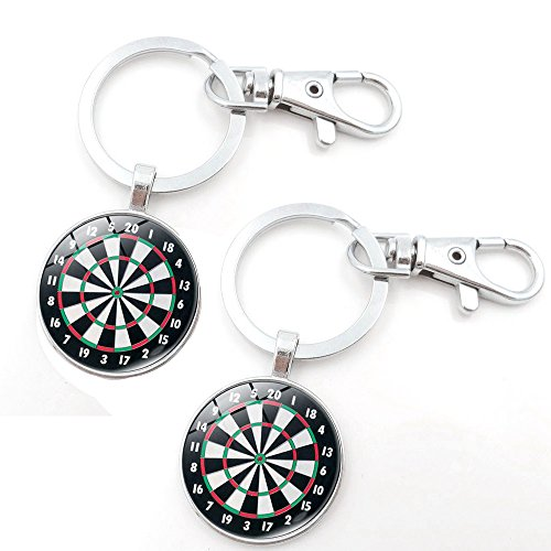1797 Key Chains Rings Keychains Dart Board Round Model Clip Hooks Men Women Retractable Decorations Loop Clasp Pack of 2
