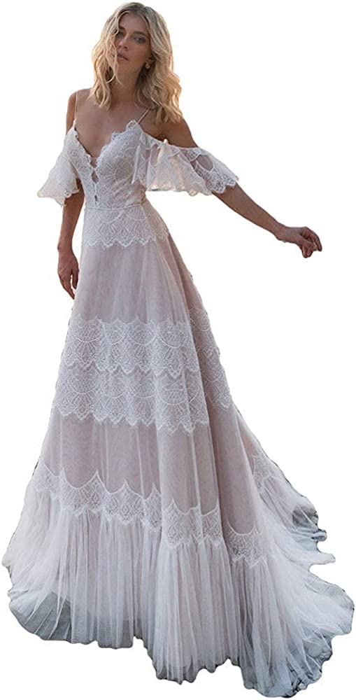 Charlotte Mall Women's Wedding Dresses Chic Lace Evening New mail order Bohemian V Nec