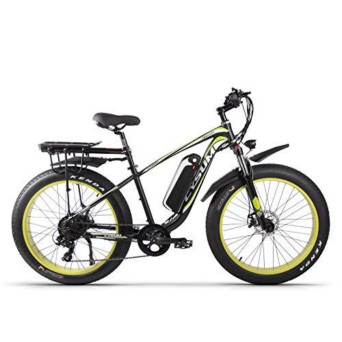 Vélo électrique pour Adulte M980 26 Pouces vélo de Montagne 1000W 48V 17Ah Neige Gros pneus vélos (Vert foncé)