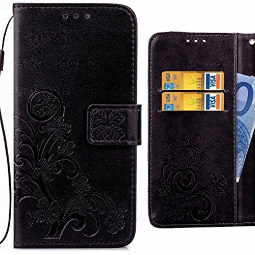 Ougger Handyhülle für Lenovo C2 Tasche Glückliche Blätter Beutel Brieftasche Schutzhülle PU Leder Weich Magnetisch Silikon TPU Cover Schale für Lenovo C2 mit Kartenslot (Schwarz)