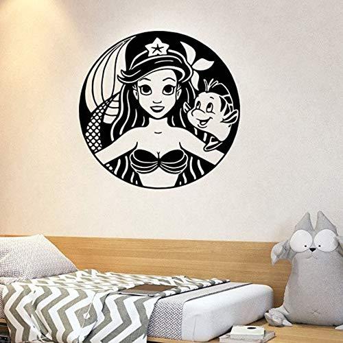 Pegatinas de pared de sirena grande para niños, niñas, dormitorio, guardería, habitación de bebé, decoración del hogar, pegatinas de vinilo para pared, Mural de estilo marino con peces bonitos