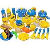 YAKOK 33 Stück Plastik Kinderküche Geschirr Kochgeschirr Kinder Kochutensilien Kinderküche Küchenspielzeug für Kinder 3-7 Jahre (Blau, Gelb)