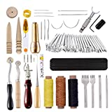 60 Pcs Leather Sewing Tools Set, Leather Stamping Tools with Hole Punch, Waxed Thread, Leather Sewing Needles and Other Tools for Leather Sewing, Punching, Stitching