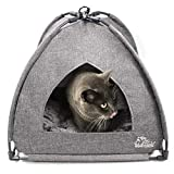 Winsterch Cat Bed Cave for Indoor Ourdoor Cats,Pet Tent Cave for Cats Small Dogs Kitten Bed House with Removable Washable Cushion (18.5'' x 18.5'' x 15.8'', Grey)