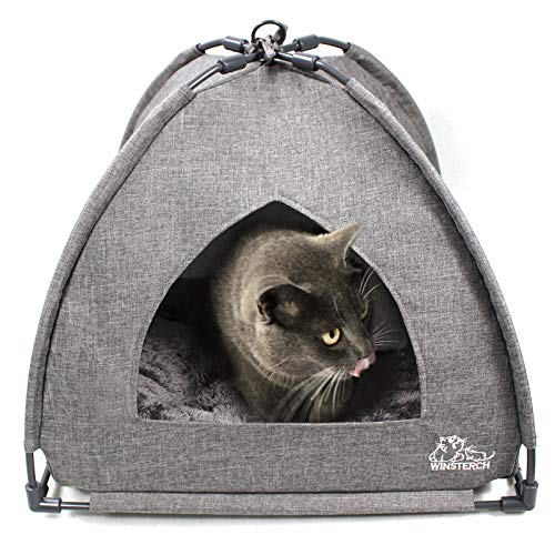 Winsterch Cat Bed Cave for Indoor Cats,Pet Tent Cave for Cats Small Dogs Kitten Bed with Removable Washable Cushion (18.5'' x 18.5'' x 15.8'', Grey)