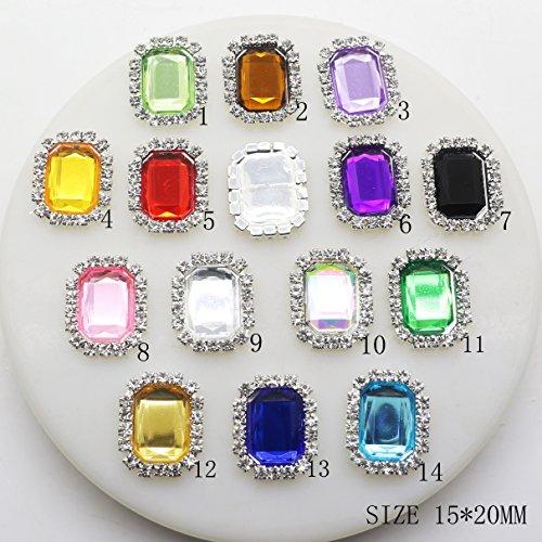 Lot de 30 boutons rectangulaires en acrylique avec strass 15 mm x 20 mm
