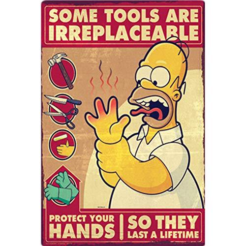 CWJCZY Ich Liebe Bier Vintage Metallblechschilder Home Bar Club Pub Metall Haus Dekorative Metallplatten Wandaufkleber Simpsons Poster 30X20 cm