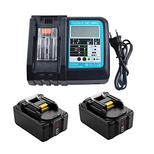 Batería de repuesto para Makita BL1850 B BL1830 BL1840 BL1860B 18 V 5.0 Ah con cargador 3 A DC18RC con LED