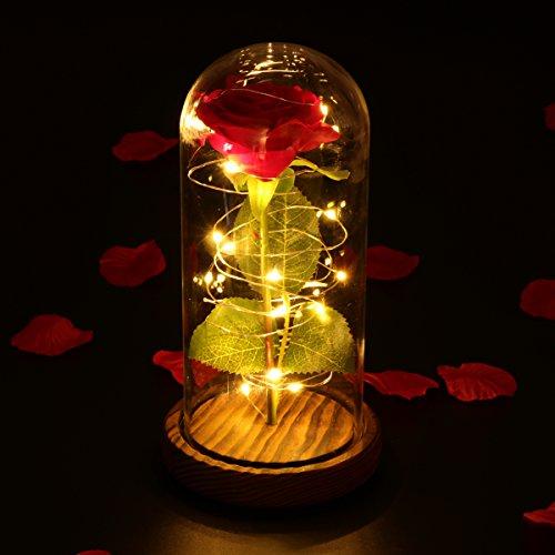 La adopción del vidrio de borosilicato de alta calidad, la pantalla de la lámpara es clara y duradera. Rosa de seda artificial. El tallo era fácil de cortar y doblar, pero los pétalos parecen casi reales. Eran suaves y de color uniforme. Alimentado p...