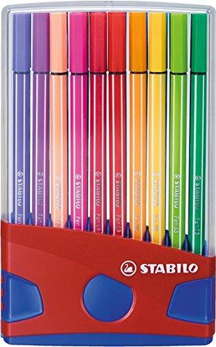 Premium-Filzstift - STABILO Pen 68 ColorParade - 20er Tischset in rot/blau - mit 20 verschiedenen Farben