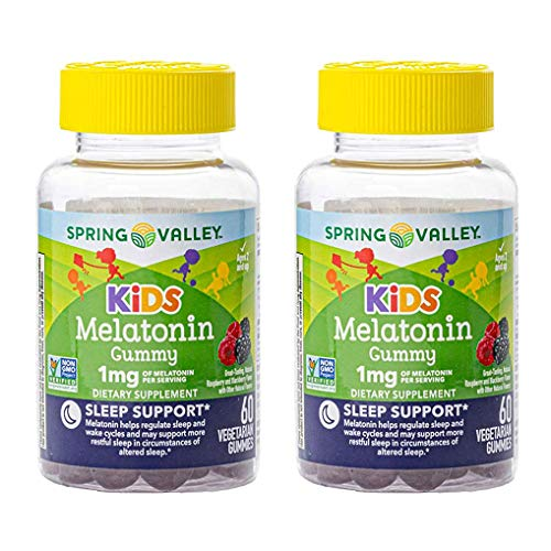 Spring Valley Kid's Melatonin 1 mg Sleep, 60 Vegetarian Gummies (Pack of 2)